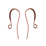 Antique Copper Earwires - 26mm with hook - 8 Pairs