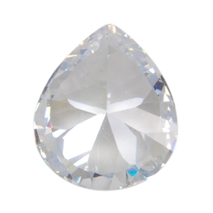 CZ: White Diamond - Pear 10mm x 12mm Pkg - 1