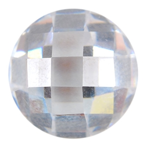 Cubic Zirconia - White Diamond - Cabochon Round 10mm - Checkerboard Top