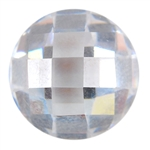 Cubic Zirconia - White Diamond - Cabochon Round 14mm - Checkerboard Top