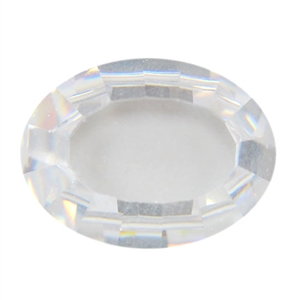 Cubic Zirconia - White Diamond - Cabochon Oval 12x16mm - Buff Top