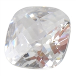 Cubic Zirconia - White Diamond - Cushion - Checkerboard 6mm
