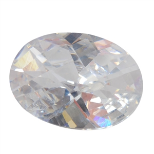 Cubic Zirconia - White Diamond - Oval - Checkerboard