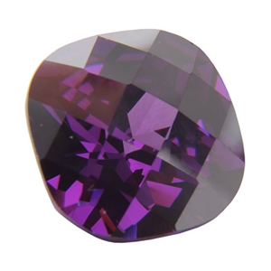 CZ: Amethyst - Cushion - Checkerboard 10mm Pkg - 1