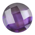 Cubic Zirconia - Amethyst - Cabochon Round 9mm - Checkerboard Top