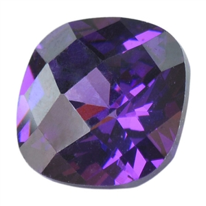 Cubic Zirconia - Amethyst - Cushion - Checkerboard