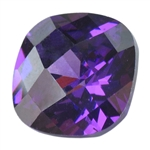 Cubic Zirconia - Amethyst - Cushion - Checkerboard 8mm