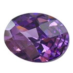 Cubic Zirconia - Amethyst - Oval - Checkerboard 10mm x 14mm