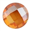 Cubic Zirconia - Champagne - Cabochon Round - Checkerboard 14mm