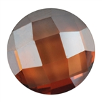 Cubic Zirconia - Smoked Topaz - Cabochon Round - Checkerboard 12mm