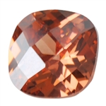 Cubic Zirconia - Smoked Topaz - Cushion - Checkerboard 6mm
