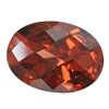 Cubic Zirconia - Smoked Topaz - Oval - Checkerboard 13mm x 18mm