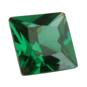 CZ: Square 4x4mm Columbian Emerald - Pak of 2