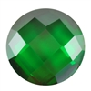 Cubic Zirconia - Columbian Emerald - Cabochon Round - Checkerboard 14mm