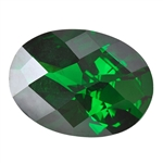 Cubic Zirconia - Columbian Emerald - Oval - Checkerboard 10mm x 14mm