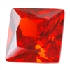 CZ: Square 6x6mm Fire Opal Pkg - 2