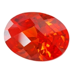 Cubic Zirconia - Fire Opal - Oval - Checkerboard 10mm x 14mm