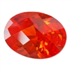 Cubic Zirconia - Fire Opal - Oval - Checkerboard 4mm x 6mm