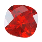 Cubic Zirconia - Hessonite Garnet - Cushion - Checkerboard 12mm Pkg - 1
