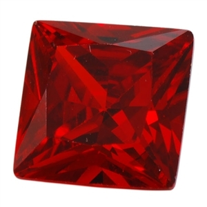 CZ: Square 4x4mm Hessonite Garnet - Pak of 5