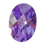 Cubic Zirconia - Lavender - Oval - Checkerboard 10mm x 14mm