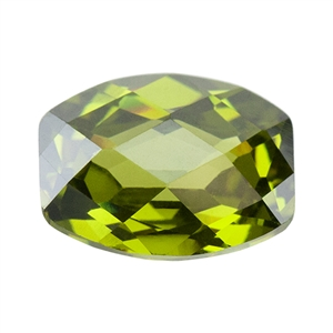 CZ: Barrel 8x10mm Olivine - Checkerboard Top - Pak of 1
