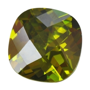 CZ: Olivine - Cushion - Checkerboard 14mm Pkg - 1