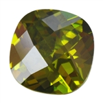 Cubic Zirconia - Olivine - Cushion - Checkerboard 8mm