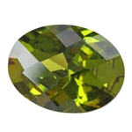 Cubic Zirconia - Olivine - Oval - Checkerboard 10mm x 14mm