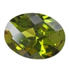 Cubic Zirconia - Olivine - Oval - Checkerboard 12mm x 16mm