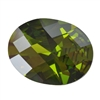 Cubic Zirconia - Olivine - Oval - Checkerboard 3mm x 5mm