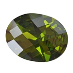 Cubic Zirconia - Olivine - Oval - Checkerboard 5mm x 7mm