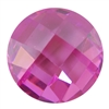 Cubic Zirconia - Pink Sapphire - Cabochon Round - Checkerboard 4mm