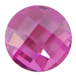 Cubic Zirconia - Pink Sapphire - Cabochon Round - Checkerboard