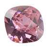 Cubic Zirconia - Pink Sapphire - Cushion - Checkerboard 4mm