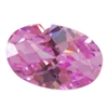 Cubic Zirconia - Pink Sapphire - Oval - Checkerboard 4mm x 6mm