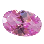Cubic Zirconia - Pink Sapphire - Oval - Checkerboard 5mm x 7mm