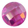 Cubic Zirconia - Pink Sapphire - Cabochon Round - Checkerboard 14mm