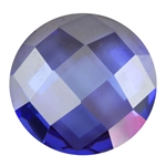 Cubic Zirconia - Tanzanite - Cabochon Round - Checkerboard 12mm
