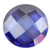 Cubic Zirconia - Tanzanite - Cabochon Round - Checkerboard 14mm