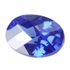 Cubic Zirconia - Tanzanite - Oval - Checkerboard 10mm x 14mm