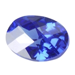 Cubic Zirconia - Tanzanite - Oval - Checkerboard 12mm x 16mm