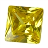 CZ: Square 4x4mm Yellow Diamond Pkg - 4