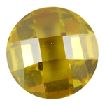 Cubic Zirconia - Yellow Diamond - Cabochon Round - Checkerboard