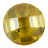 Cubic Zirconia - Yellow Diamond - Cabochon Round - Checkerboard 12mm