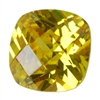 Cubic Zirconia - Yellow Diamond - Cushion - Checkerboard 6mm