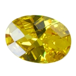 Cubic Zirconia - Yellow Diamond - Oval - Checkerboard