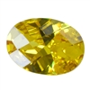Cubic Zirconia - Yellow Diamond - Oval - Checkerboard 12mm x 16mm