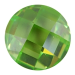 Cubic Zirconia - Green Apple - Cabochon Round - Checkerboard