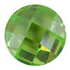 Cubic Zirconia - Green Apple - Cabochon Round - Checkerboard 14mm
